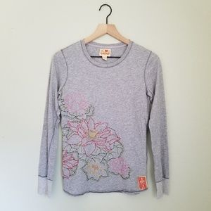 Vtg Lucky Brand Embroidered Asian Lillypad Top